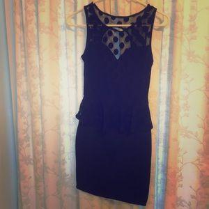 Solemio Black Peplum Dress